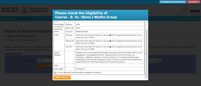 Banaras Hindu University Mcom Admission Form